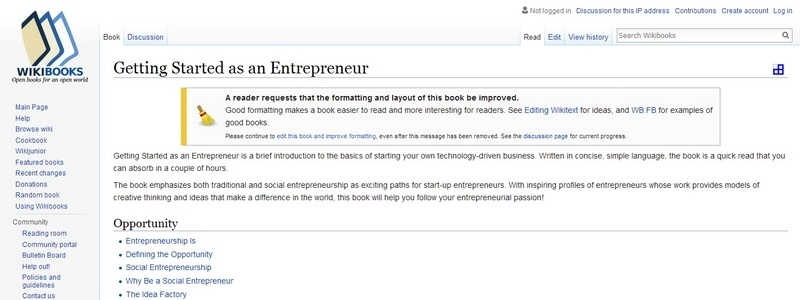 Getting Started as an Entrepreneur by Wikibooks.org