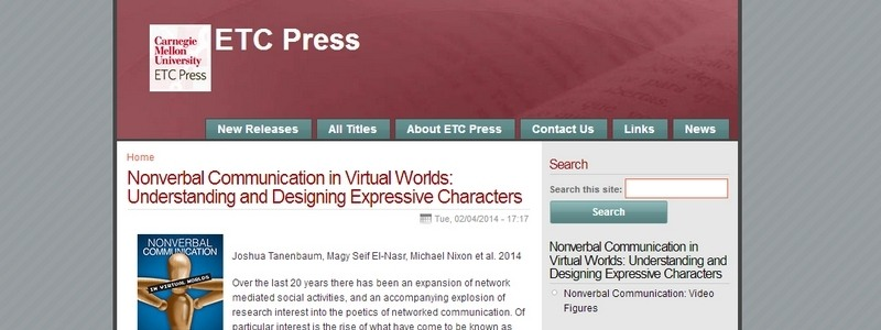 Nonverbal Communication in Virtual Worlds: Understanding and Designing Expressive Characters by Joshua Tanenbaum