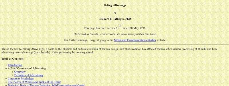 Taking ADvantage by Richard F. Taflinger